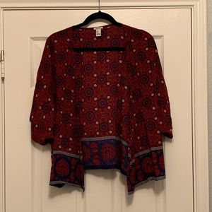 Forever 21 Red & Navy Intricate Patterned Kimono